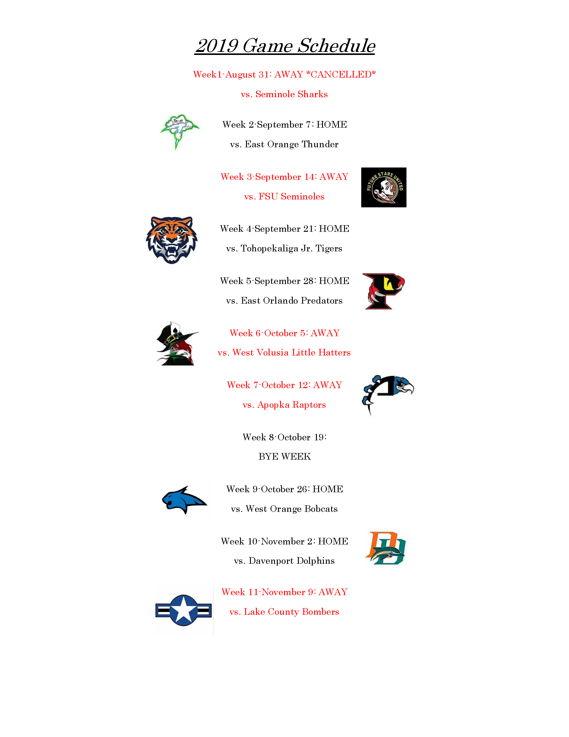 Falcons Updated Game Schedule 09.03.19