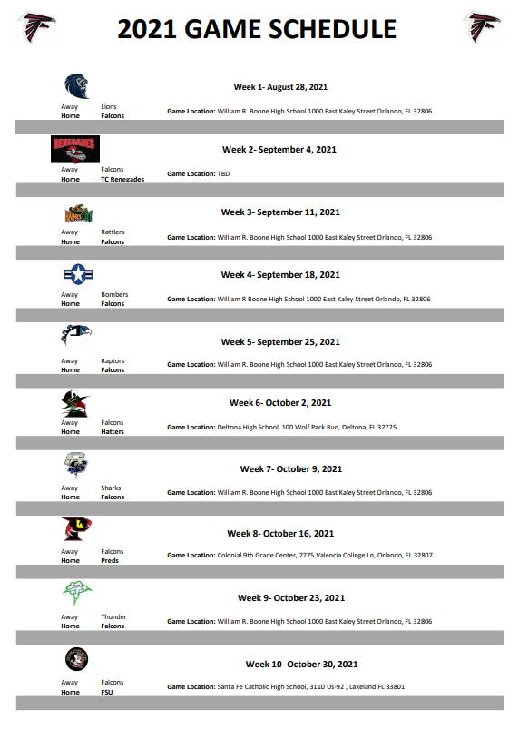 2021 game schedule